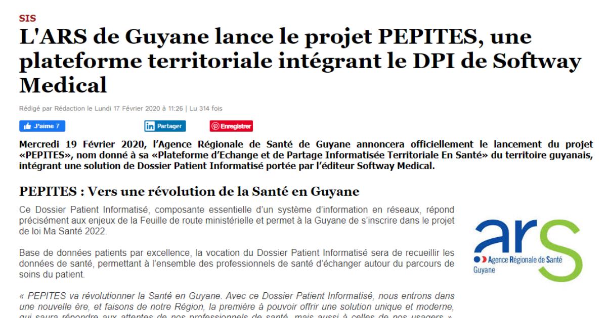 L'ARS de Guyane lance le projet PEPITES, une plateforme territoriale intégrant le DPI de Softway Medical