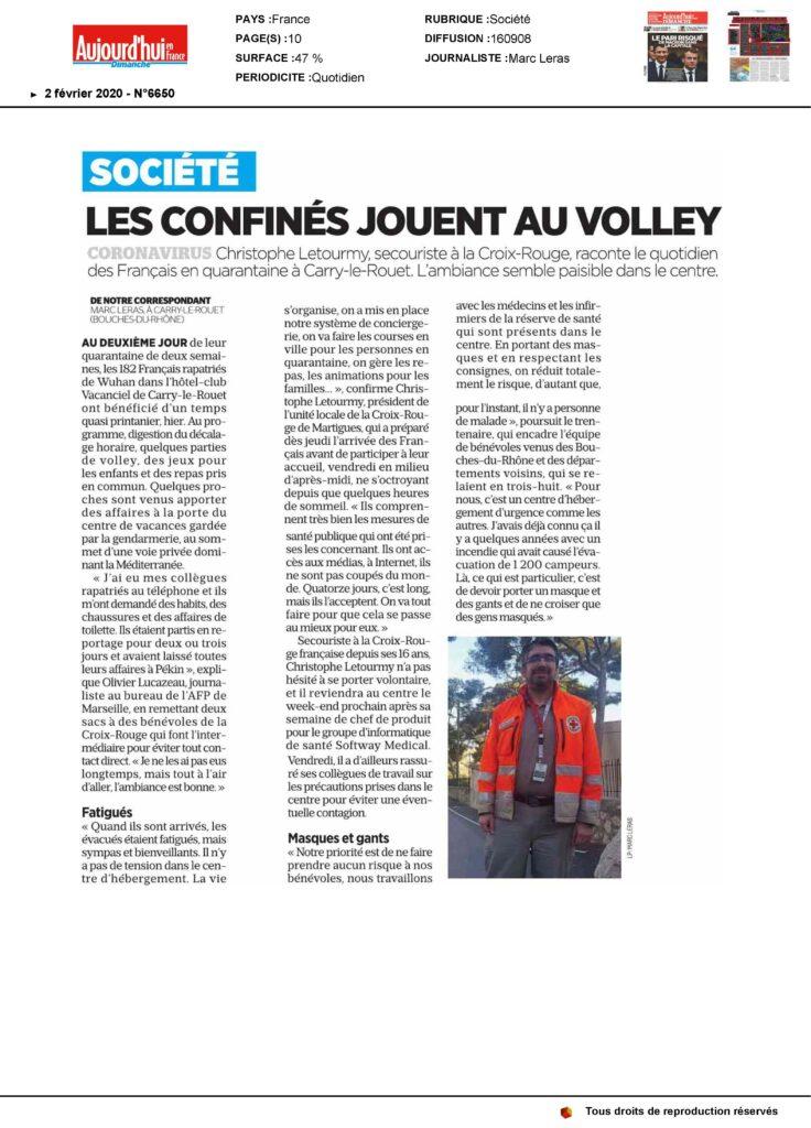 """Article du journal """"Aujourd'hui"""" du 2 février 2020"""
