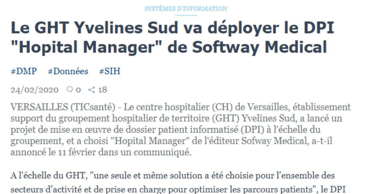ON PARLE DE NOUS DANS TIC SANTE : Le GHT Yvelines Sud va déployer le DPI « Hopital Manager » de Softway Medical