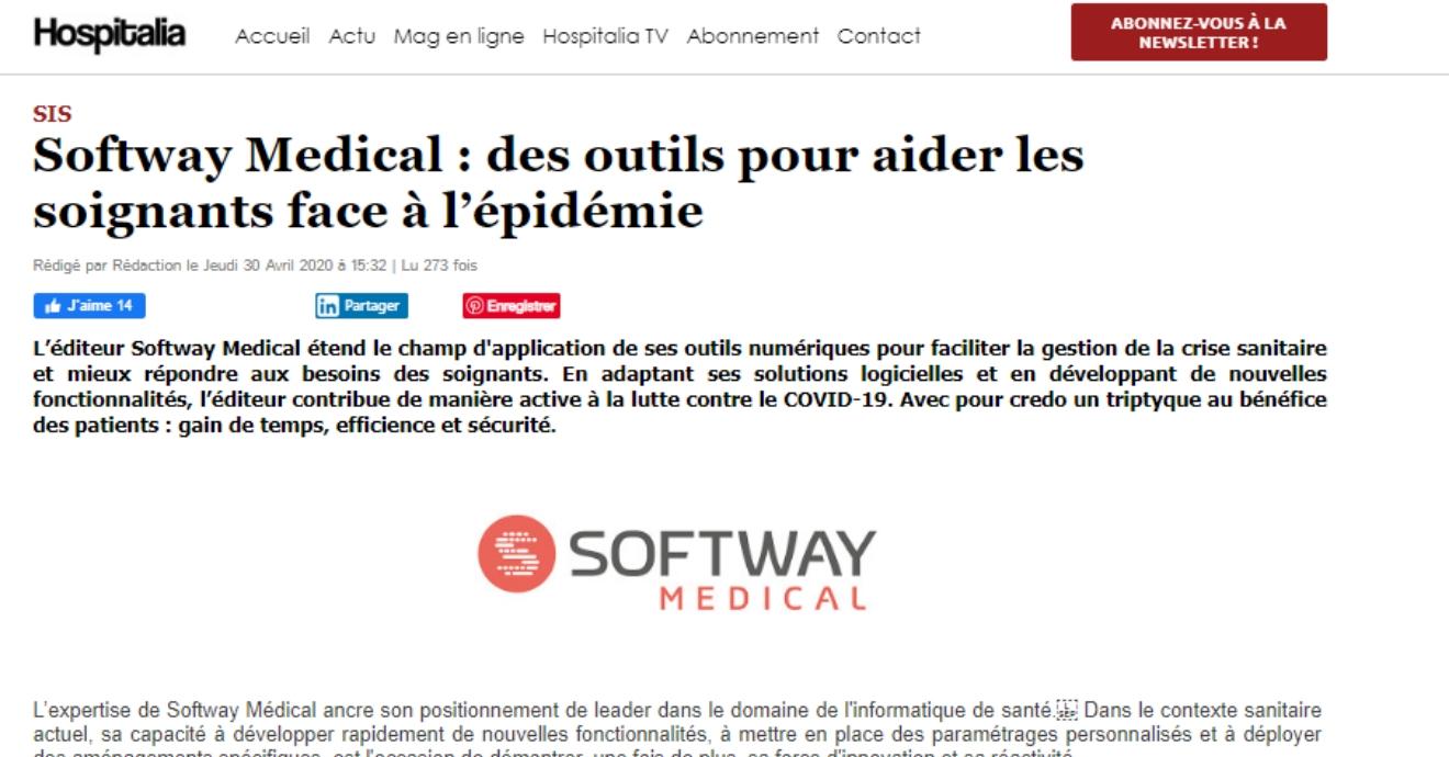 ON PARLE DE NOUS DANS HOSPITALIA MAGAZINE : Des outils pour aider les soignants face à l'épidémie