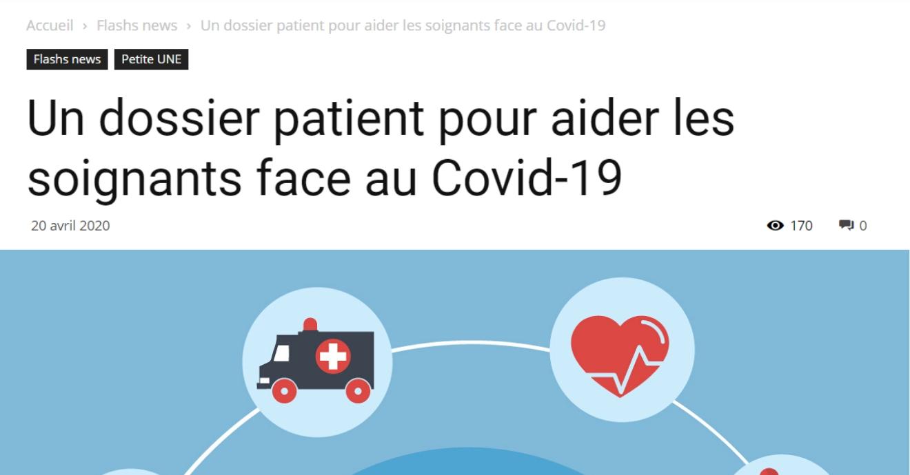 ON PARLE DE NOUS DANS SIH SOLUTIONS : Un dossier patient pour aider les soignants face au Covid-19