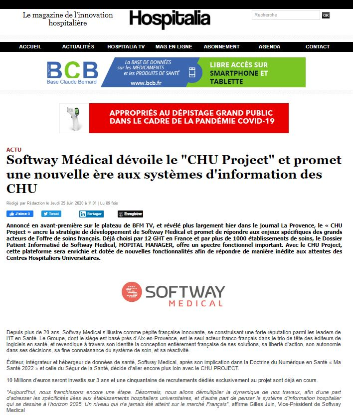 Hospitalia s'empare du sujet CHU Project de Softway Medical