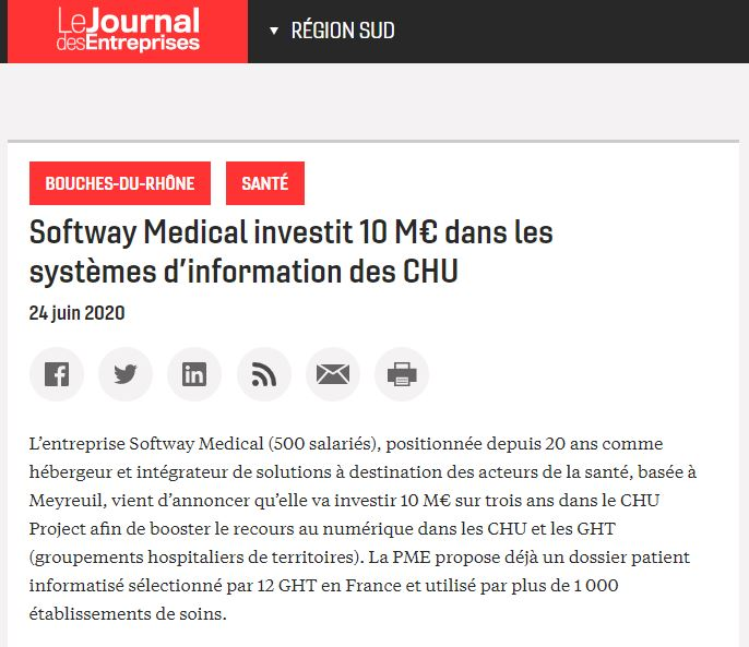 Le Journal des Entreprises s'empare du sujet CHU Project de Softway Medical