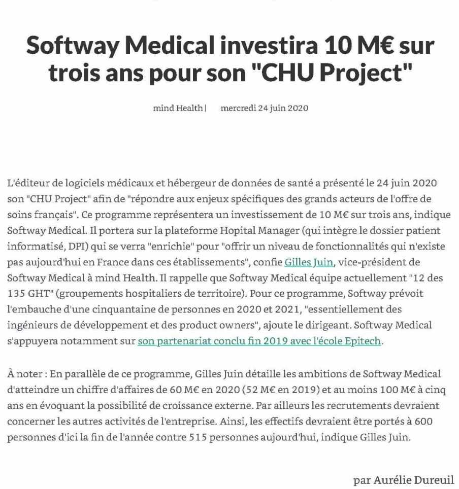 Mind Health s'empare du sujet CHU Project de Softway Medical