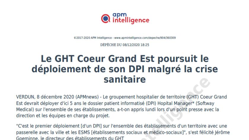 LE GHT Cœur Grand Est poursuit le déploiement de son DPI malgré la crise sanitaire
