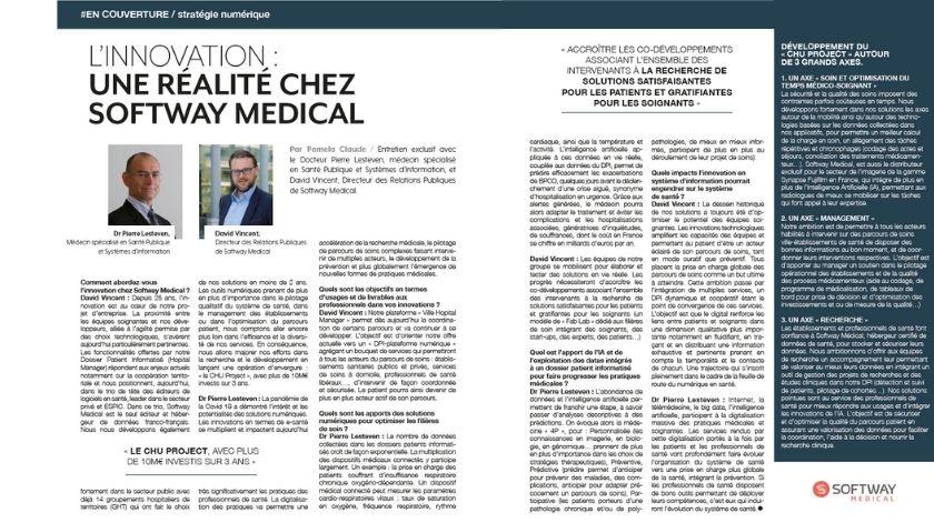 L'INNOVATION : UNE RÉALITÉ CHEZ SOFTWAY MEDICAL