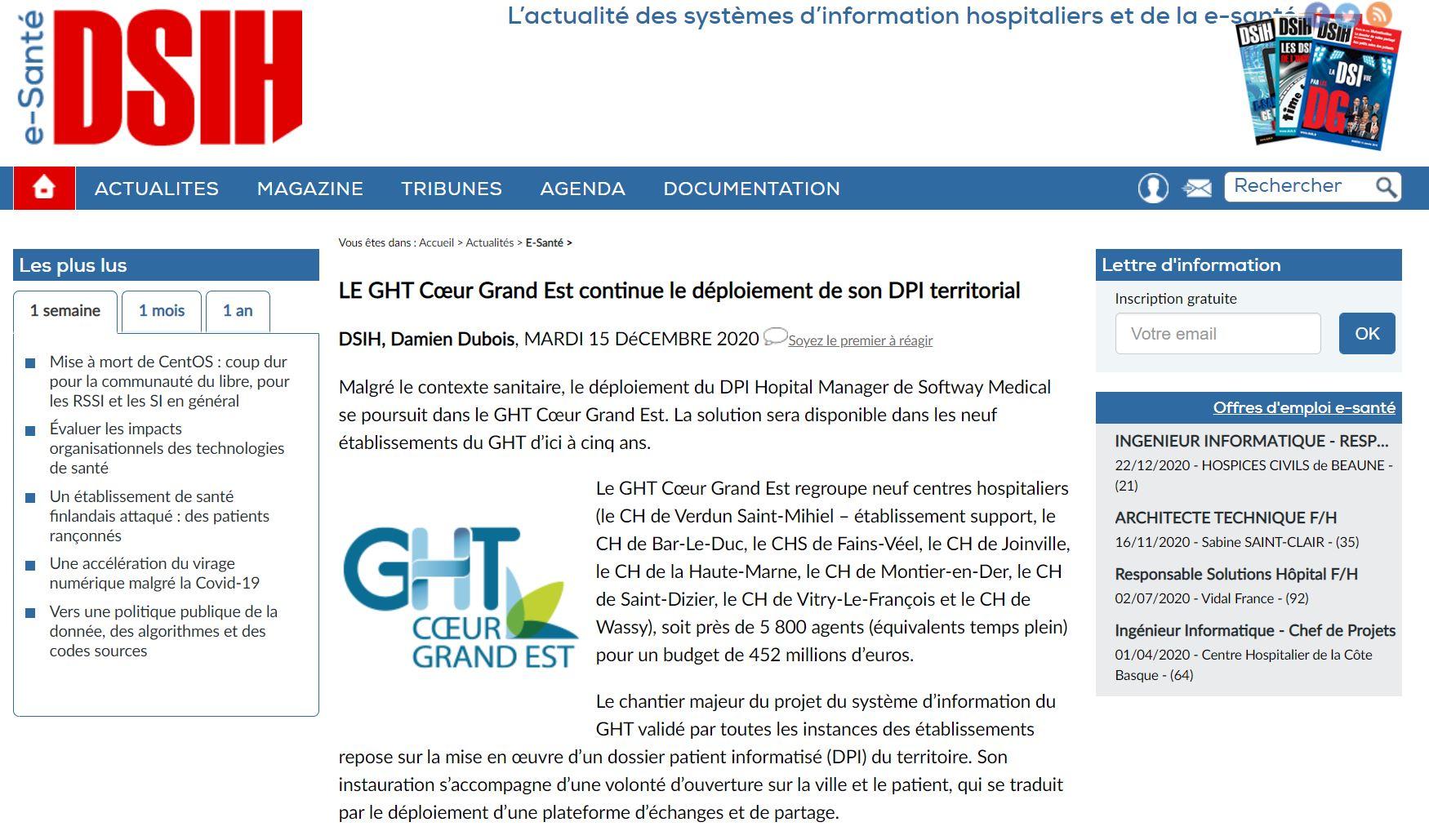 Le GHT Cœur Grand Est poursuit le déploiement de son DPI… DSIH et TecHopital en parlent !