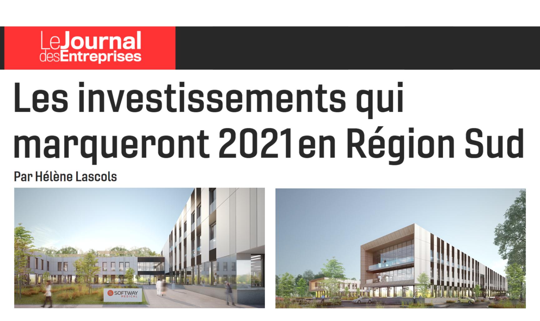 On parle de nous dans Le Journal des Entreprises : Les investissements qui marqueront 2021 en Région Sud !